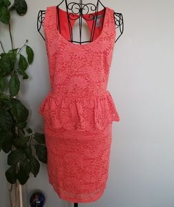 CLEARANCE!! Flying Tomato coral peplum dress